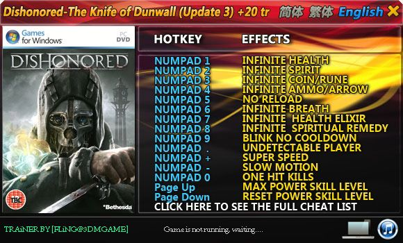 Dishonored: The Knife of Dunwall (Update 3) +20 Trainer [FliNG]