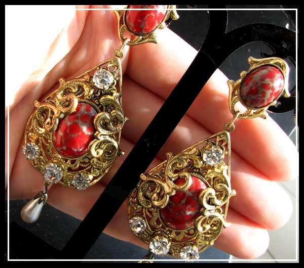 VTG CZECH DECO NOUVEAU Art GLASS Paste EARRINGS Dangle