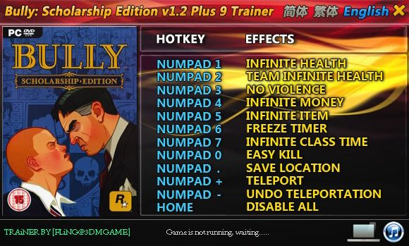 Bully: Scholarship Edition 1.2 +9 Trainer [FliNG]